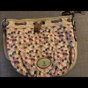 Fossil Floral/Canvas Bucket Bag